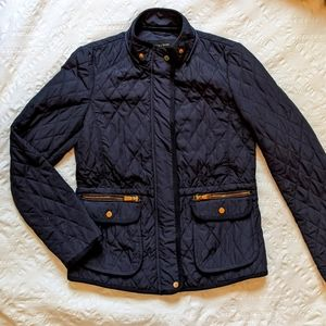 ZARA Quilted Navy Blue Jacket Small